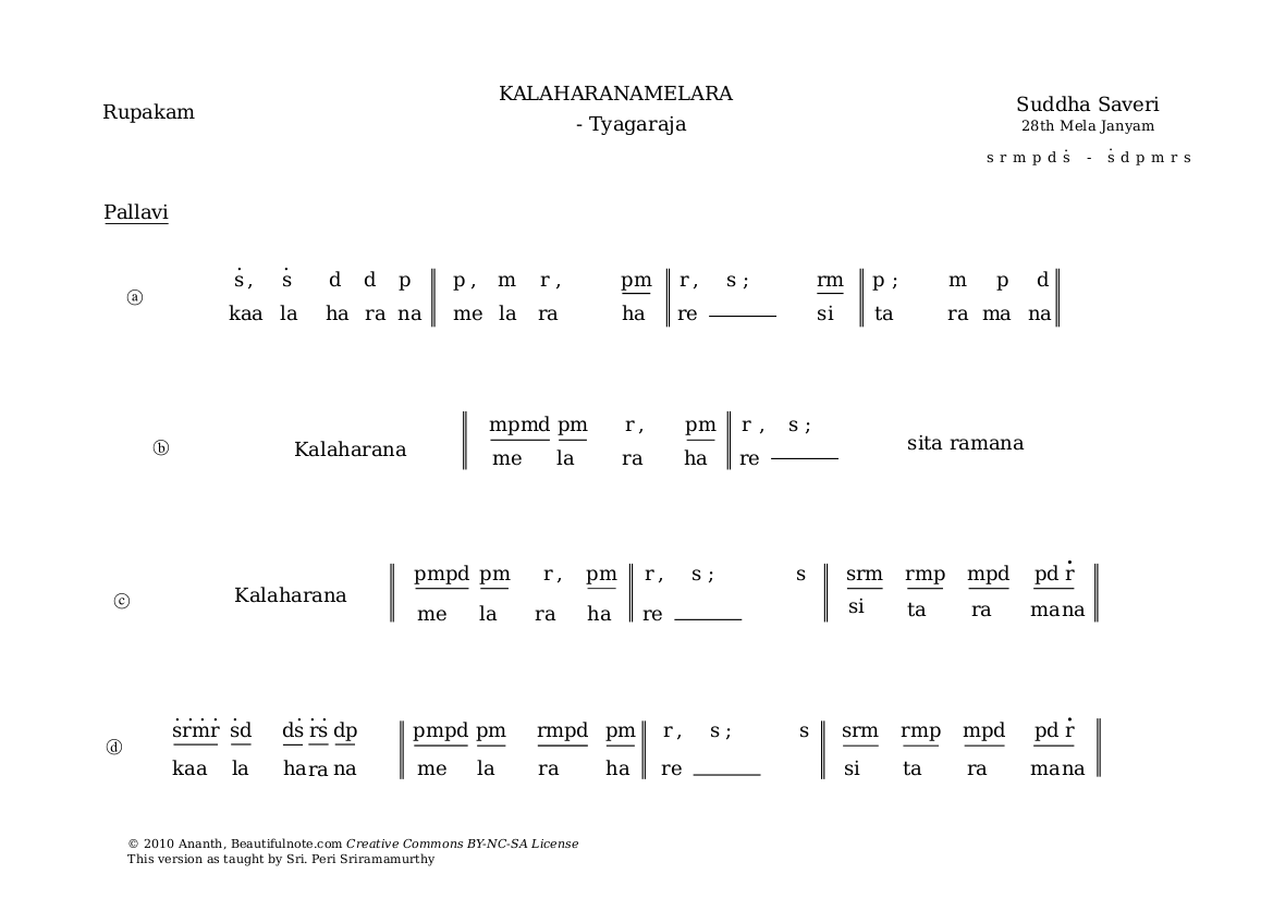 Score sample: Kalaharanamelara - Suddha Saveri