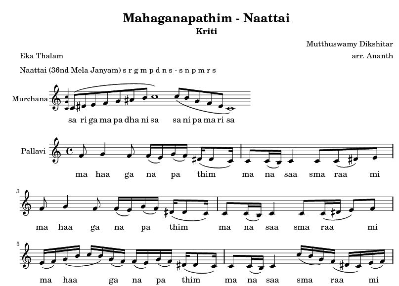 Mahaganapathim music score snippet